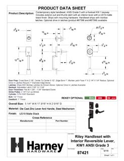 Product Data Specification Sheet Of A Riley Handleset With Interior Reversible Lever - Matte Black Finish - Product Number 87421