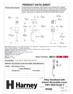 Product Data Specification Sheet Of A Riley Handleset With Interior Reversible Lever - Chrome Finish - Product Number 87422
