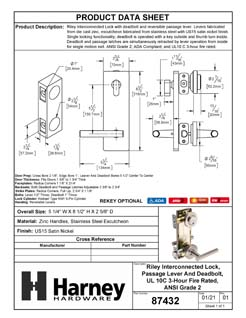 Product Data Specification Sheet Of A Riley Interconnected Lock, Reversible Passage Lever, UL Fire Rated, ANSI 2 - Satin Nickel Finish - Product Number 87432