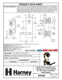 Product Data Specification Sheet Of A Riley Interconnected Lock, Reversible Passage Lever, UL Fire Rated, ANSI 2 - Matte Black Finish - Product Number 87433