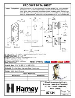 Product Data Specification Sheet Of A Interconnected Door Lock Reversible Passage Lever, UL Fire Rated, ANSI 2, Contemporary Style Riley Collection - Chrome Finish - Product Number 87434