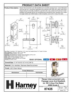 Product Data Specification Sheet Of A Harper Interconnected Lock, Reversible Passage Lever, UL Fire Rated, ANSI 2 - Satin Nickel Finish - Product Number 87435