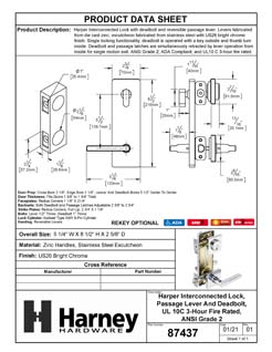 Product Data Specification Sheet Of A Harper Interconnected Lock, Reversible Passage Lever, UL Fire Rated, ANSI 2 - Chrome Finish - Product Number 87437
