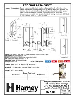 Product Data Specification Sheet Of A Dakota Interconnected Lock, Left Handed Passage Lever, UL Fire Rated, ANSI 2 - Satin Nickel Finish - Product Number 87438