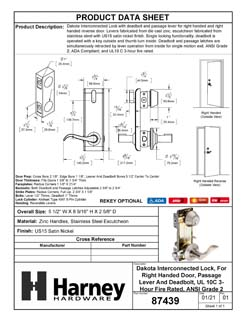 Product Data Specification Sheet Of A Dakota Interconnected Lock, Right Handed Passage Lever, UL Fire Rated, ANSI 2 - Satin Nickel Finish - Product Number 87439