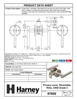 Product Data Specification Sheet Of A Riley Bed / Bath / Privacy Contemporary Door Lever Set - Satin Nickel Finish - Product Number 87600