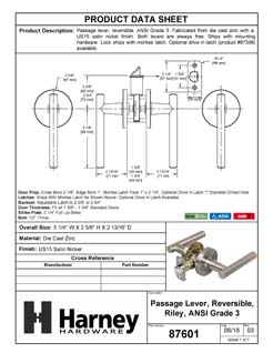Product Data Specification Sheet Of A Riley Closet / Hall / Passage Contemporary Door Lever Set - Satin Nickel Finish - Product Number 87601