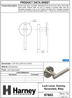 Product Data Specification Sheet Of A Riley Inactive / Dummy Contemporary Door Lever - Satin Nickel Finish - Product Number 87602