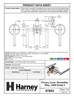 Product Data Specification Sheet Of A Riley Bed / Bath / Privacy Contemporary Door Lever Set - Chrome Finish - Product Number 87603