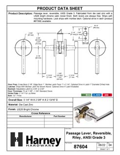 Product Data Specification Sheet Of A Riley Closet / Hall / Passage Contemporary Door Lever Set - Chrome Finish - Product Number 87604