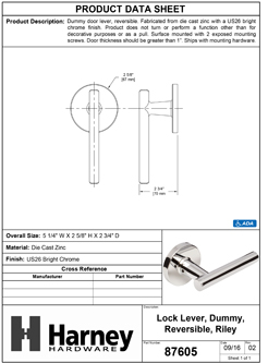 Product Data Specification Sheet Of A Riley Inactive / Dummy Contemporary Door Lever - Chrome Finish - Product Number 87605