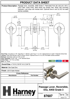 Product Data Specification Sheet Of A Ella Closet / Hall / Passage Contemporary Door Lever Set - Satin Nickel Finish - Product Number 87607
