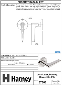 Product Data Specification Sheet Of A Ella Inactive / Dummy Contemporary Door Lever - Chrome Finish - Product Number 87608