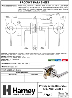 Product Data Specification Sheet Of A Ella Bed / Bath / Privacy Contemporary Door Lever Set - Chrome Finish - Product Number 87610