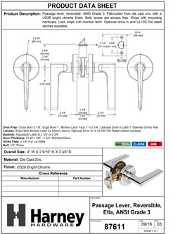 Product Data Specification Sheet Of A Ella Closet / Hall / Passage Contemporary Door Lever Set - Chrome Finish - Product Number 87611