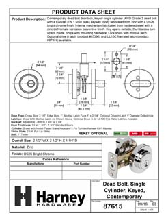 Product Data Specification Sheet Of A Keyed Single Cylinder Contemporary Deadbolt, Round Escutcheon - Chrome Finish - Product Number 87615