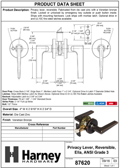 Product Data Specification Sheet Of A Ella Bed / Bath / Privacy Contemporary Door Lever Set - Venetian Bronze Finish - Product Number 87620