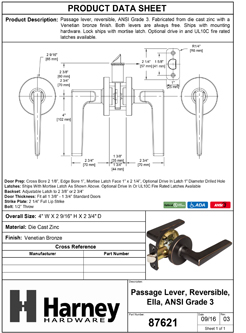 Product Data Specification Sheet Of A Ella Closet / Hall / Passage Contemporary Door Lever Set - Venetian Bronze Finish - Product Number 87621