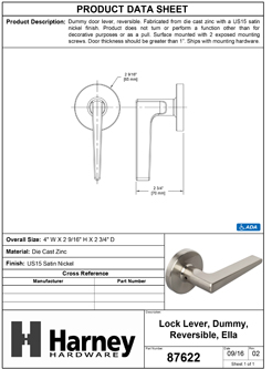 Product Data Specification Sheet Of A Ella Inactive / Dummy Contemporary Door Lever - Satin Nickel Finish - Product Number 87622
