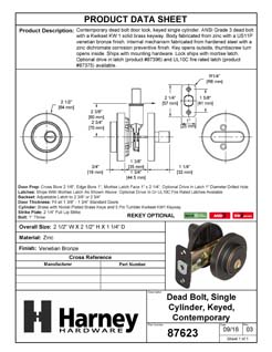 Product Data Specification Sheet Of A Keyed Single Cylinder Contemporary Deadbolt, Round Escutcheon - Venetian Bronze Finish - Product Number 87623