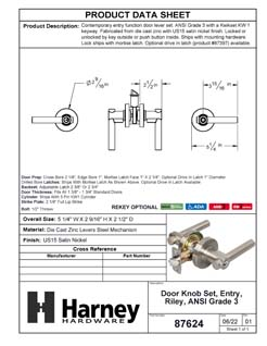 Product Data Specification Sheet Of A Riley Keyed / Entry Contemporary Door Lever Set - Satin Nickel Finish - Product Number 87624