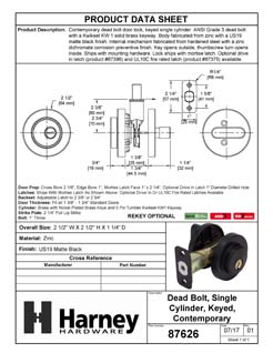 Product Data Specification Sheet Of A Keyed Single Cylinder Contemporary Deadbolt, Round Escutcheon - Matte Black Finish - Product Number 87626