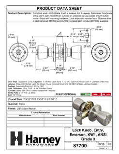 Product Data Specification Sheet Of A Emerson Keyed / Entry Door Knob Set - Satin Nickel Finish - Product Number 87700