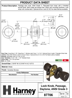 Product Data Specification Sheet Of A Emerson Closet / Hall / Passage Door Knob Set - Venetian Bronze Finish - Product Number 87706
