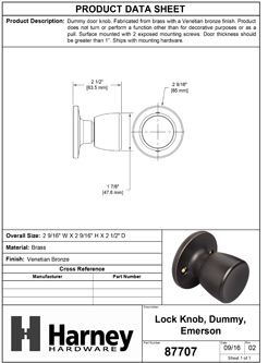 Product Data Specification Sheet Of A Emerson Inactive / Dummy Door Knob - Venetian Bronze Finish - Product Number 87707