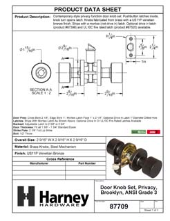 Product Data Specification Sheet Of A Brooklyn Bed / Bath / Privacy Contemporary Door Knob Set - Venetian Bronze Finish - Product Number 87709
