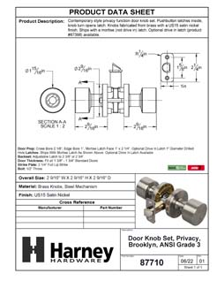 Product Data Specification Sheet Of A Brooklyn Bed / Bath / Privacy Contemporary Door Knob Set - Satin Nickel Finish - Product Number 87710