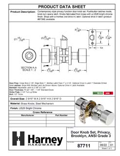 Product Data Specification Sheet Of A Door Knob Set Bed / Bath / Privacy Function Contemporary Style Brooklyn Collection - Chrome Finish - Product Number 87711