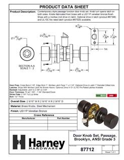 Product Data Specification Sheet Of A Brooklyn Closet / Hall / Passage Contemporary Door Knob Set - Venetian Bronze Finish - Product Number 87712