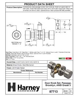 Product Data Specification Sheet Of A Brooklyn Closet / Hall / Passage Contemporary Door Knob Set - Satin Nickel Finish - Product Number 87713