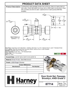 Product Data Specification Sheet Of A Brooklyn Closet / Hall / Passage Contemporary Door Knob Set - Chrome Finish - Product Number 87714
