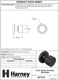 Product Data Specification Sheet Of A Brooklyn Inactive / Dummy Contemporary Door Knob - Venetian Bronze Finish - Product Number 87715