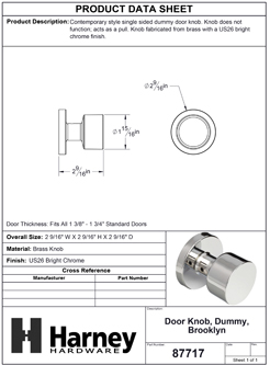 Product Data Specification Sheet Of A Brooklyn Inactive / Dummy Contemporary Door Knob - Chrome Finish - Product Number 87717