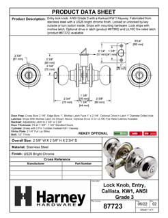 Product Data Specification Sheet Of A Callista Keyed / Entry Door Knob Set - Chrome Finish - Product Number 87723