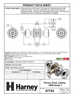 Product Data Specification Sheet Of A Callista Bed / Bath / Privacy Door Knob Set - Chrome Finish - Product Number 87724