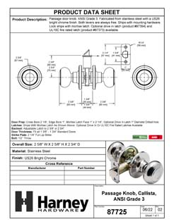 Product Data Specification Sheet Of A Callista Closet / Hall / Passage Door Knob Set - Chrome Finish - Product Number 87725