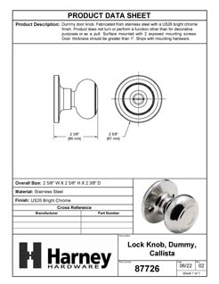 Product Data Specification Sheet Of A Callista Inactive / Dummy Door Knob - Chrome Finish - Product Number 87726