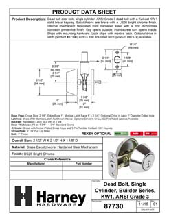 Product Data Specification Sheet Of A Keyed Single Cylinder Deadbolt - Chrome Finish - Product Number 87730