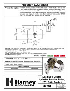 Product Data Specification Sheet Of A Keyed Double Cylinder Deadbolt - Chrome Finish - Product Number 87731