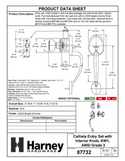 Product Data Specification Sheet Of A Callista Handleset With Interior Door Knob - Chrome Finish - Product Number 87732