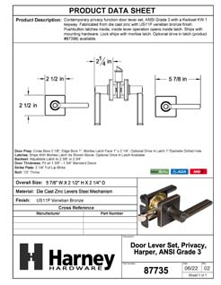Product Data Specification Sheet Of A Harper Bed / Bath / Privacy Contemporary Door Lever Set - Venetian Bronze Finish - Product Number 87735