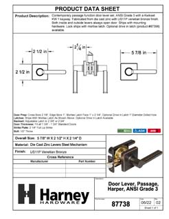 Product Data Specification Sheet Of A Harper Closet / Hall / Passage Contemporary Door Lever Set - Venetian Bronze Finish - Product Number 87738