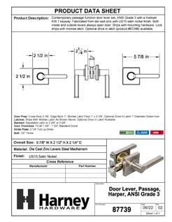 Product Data Specification Sheet Of A Harper Closet / Hall / Passage Contemporary Door Lever Set - Satin Nickel Finish - Product Number 87739
