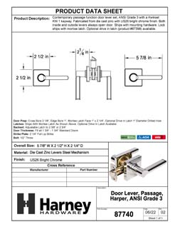 Product Data Specification Sheet Of A Harper Closet / Hall / Passage Contemporary Door Lever Set - Chrome Finish - Product Number 87740
