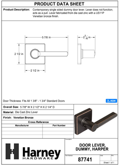 Product Data Specification Sheet Of A Harper Inactive / Dummy Contemporary Door Lever - Venetian Bronze Finish - Product Number 87741