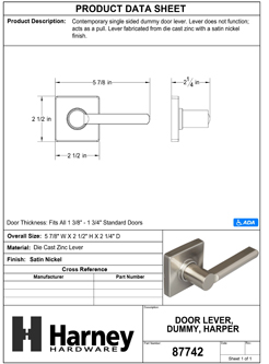 Product Data Specification Sheet Of A Harper Inactive / Dummy Contemporary Door Lever - Satin Nickel Finish - Product Number 87742